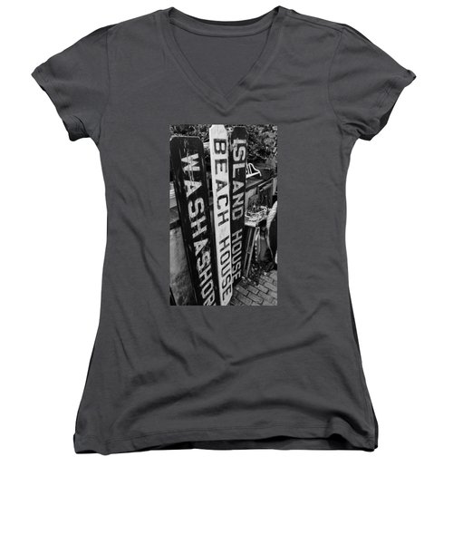 Island Signage Women's V-Neck T-Shirt (Junior Cut) by JAMART Photography