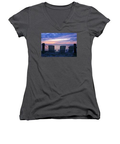 Island Time Women's V-Neck T-Shirt (Junior Cut) by Catherine Alfidi