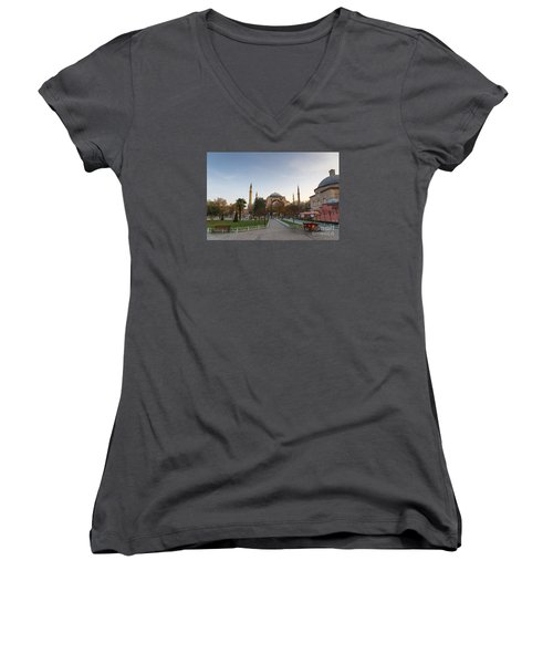 Women's V-Neck T-Shirt (Junior Cut) featuring the photograph Istanbul City Center by Yuri Santin
