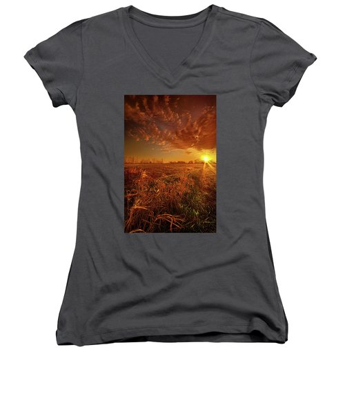 Women's V-Neck T-Shirt (Junior Cut) featuring the photograph It Just Is by Phil Koch
