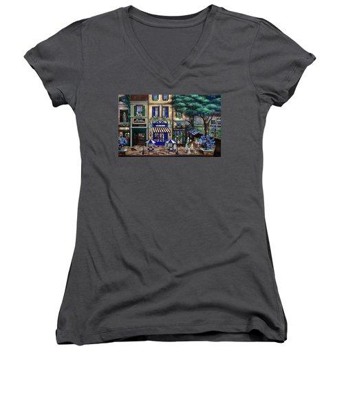 Italian Cafe Women's V-Neck T-Shirt (Junior Cut) by Curtiss Shaffer