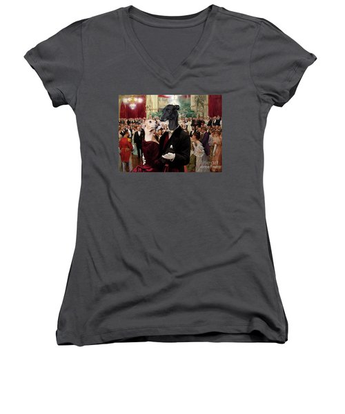 Italian Greyhound Art Canvas Print - Beautiful City Dance Hall Vienna Wilhelm Gause Women's V-Neck (Athletic Fit)