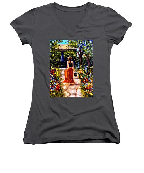 It's A Beautiful Day.. Women's V-Neck T-Shirt (Junior Cut) by Cristina Mihailescu