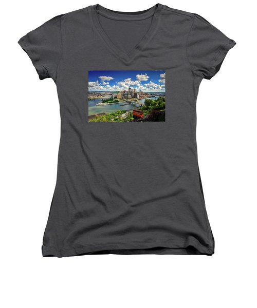 Women's V-Neck T-Shirt (Junior Cut) featuring the photograph It's A Beautiful Day In The Neighborhood by Emmanuel Panagiotakis
