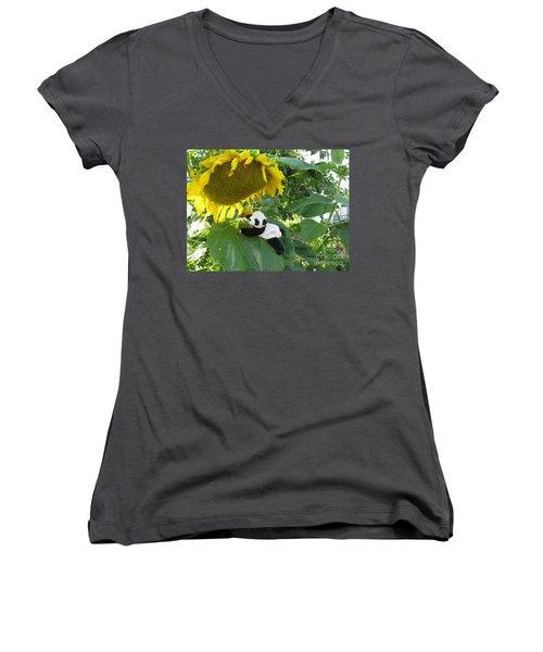 Women's V-Neck T-Shirt (Junior Cut) featuring the photograph It's A Big Sunflower by Ausra Huntington nee Paulauskaite