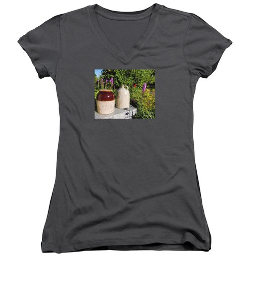 Women's V-Neck T-Shirt (Junior Cut) featuring the photograph It's A Crock by Mim White