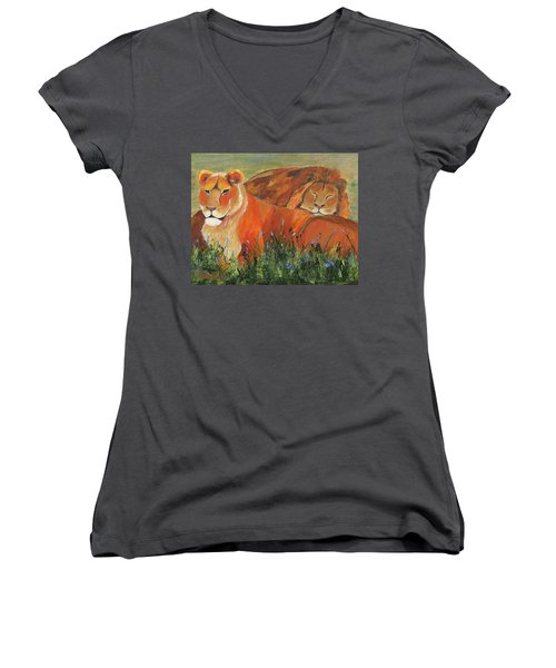 Women's V-Neck T-Shirt featuring the painting It's Good To Be King by Jamie Frier