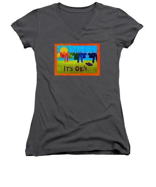 Ok Transparent Women's V-Neck (Athletic Fit)