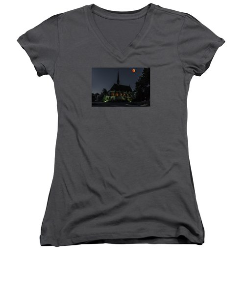 Ivy Chapel Under The Blood Moon Women's V-Neck T-Shirt