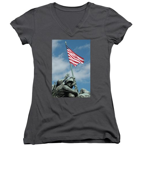 Iwo Jima Memorial Women's V-Neck (Athletic Fit)
