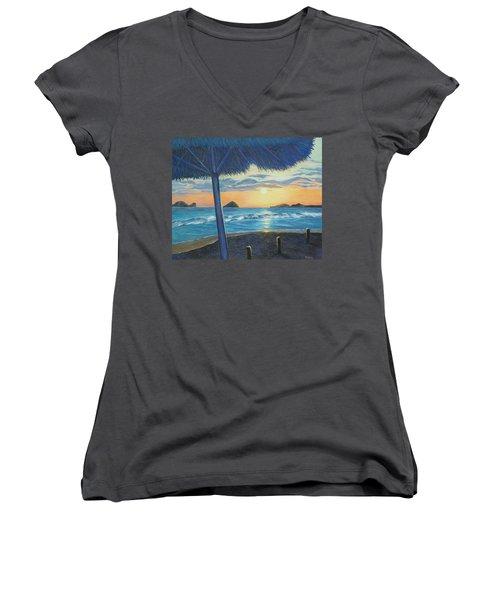 Women's V-Neck T-Shirt (Junior Cut) featuring the painting Ixtapa by Susan DeLain