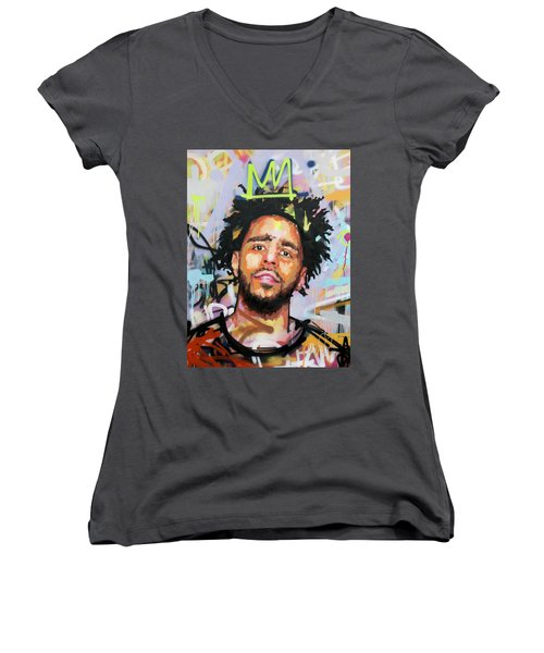 J Cole Women's V-Neck T-Shirt (Junior Cut) by Richard Day