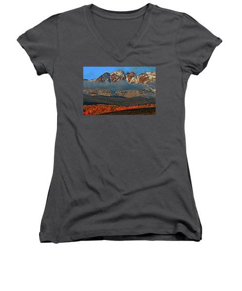Women's V-Neck T-Shirt (Junior Cut) featuring the photograph Jagged Peaks Fall by Scott Mahon