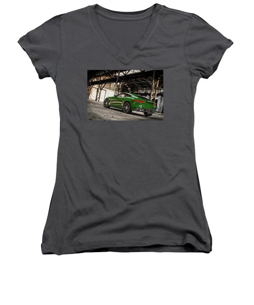 Jaguar F-type - British Racing Green - Rear View Women's V-Neck (Athletic Fit)