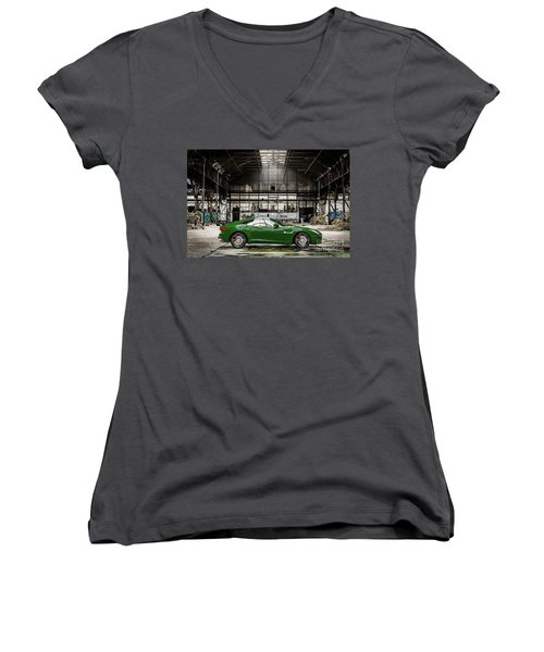Jaguar F-type - British Racing Green - Side View Women's V-Neck