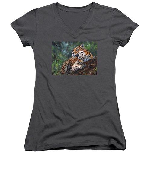 Jaguar In Tree Women's V-Neck T-Shirt (Junior Cut) by David Stribbling
