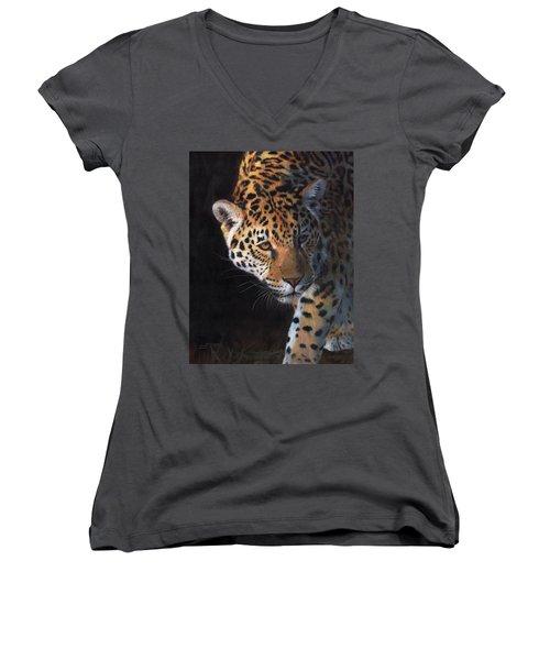 Jaguar Portrait Women's V-Neck T-Shirt (Junior Cut) by David Stribbling
