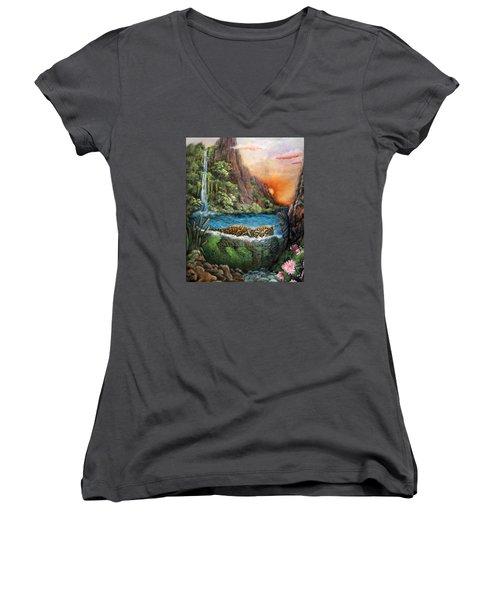 Jaguar Sunset  Women's V-Neck T-Shirt (Junior Cut) by Retta Stephenson