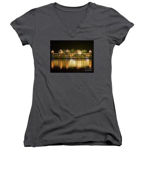 Jal Palace At Night Women's V-Neck T-Shirt (Junior Cut) by Michael Cinnamond