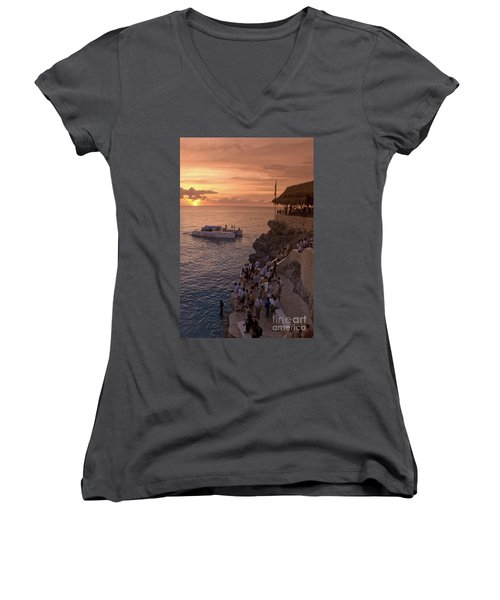 Women's V-Neck featuring the photograph Jamaica Negril Ricks Cafe by Juergen Held