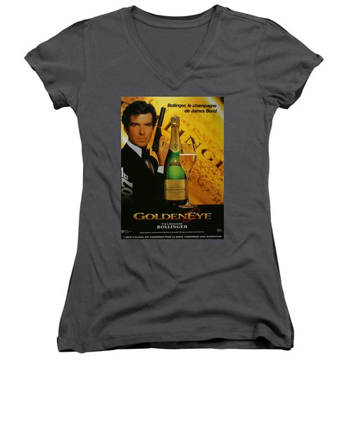 James Bond Ad 1995 Women's V-Neck T-Shirt (Junior Cut) by Andrew Fare