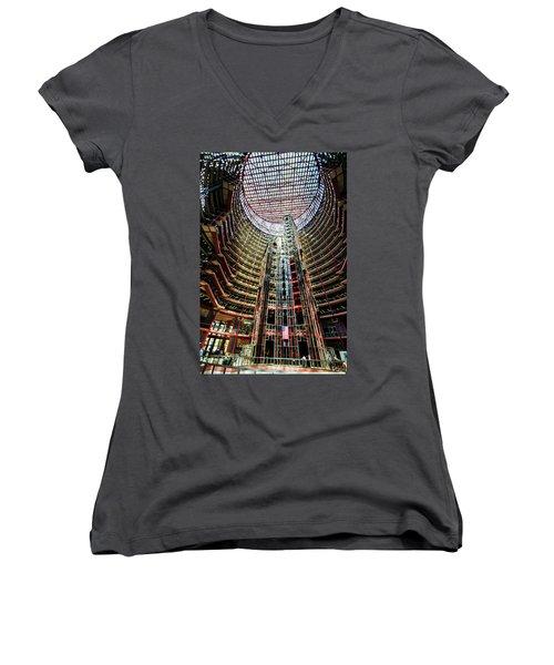 Women's V-Neck T-Shirt (Junior Cut) featuring the photograph James R Thompson Center Interior Chicago by Deborah Smolinske