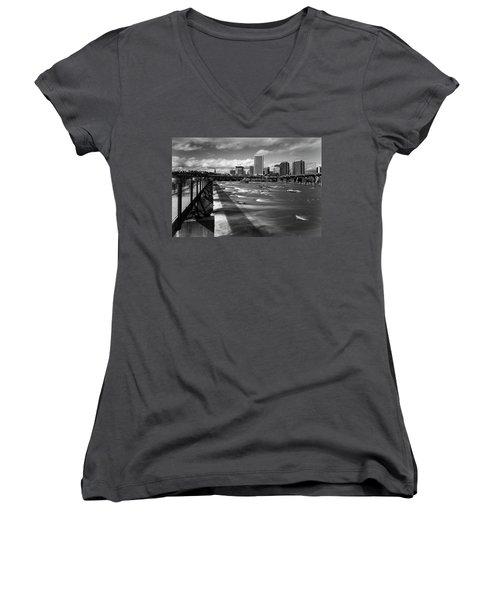 Women's V-Neck T-Shirt featuring the photograph James River Richmond  by Alan Raasch
