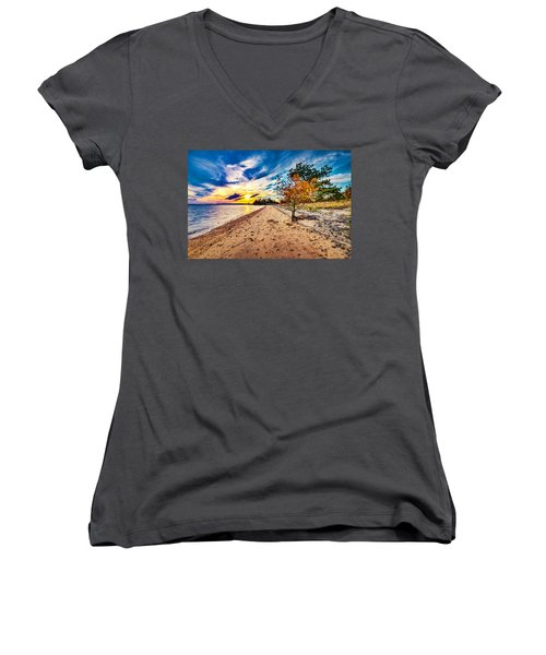 James River Sunset Women's V-Neck