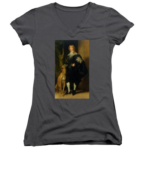 Women's V-Neck T-Shirt (Junior Cut) featuring the painting James Stuart - Duke Of Richmond And Lennox                       by Anthony Van Dyck