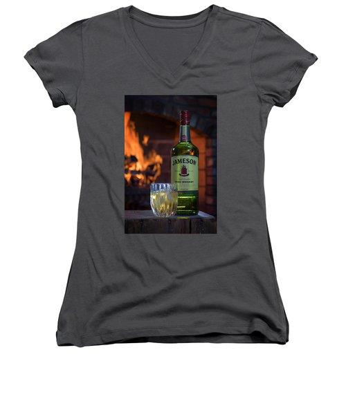 Jameson By The Fire Women's V-Neck T-Shirt (Junior Cut) by Rick Berk