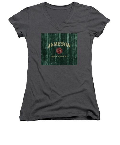 Women's V-Neck featuring the mixed media Jameson Irish Whiskey Barn Door by Dan Sproul