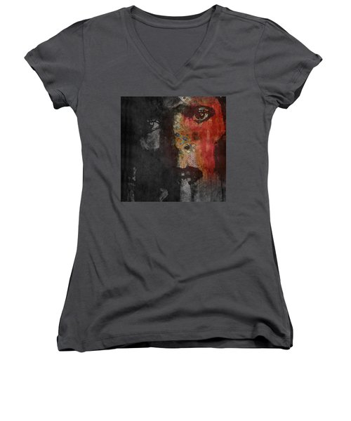 Women's V-Neck T-Shirt (Junior Cut) featuring the painting Jamming Good With Wierd And Gilly by Paul Lovering