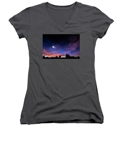 January 31, 2016 Sunset Women's V-Neck T-Shirt (Junior Cut) by Karen Slagle