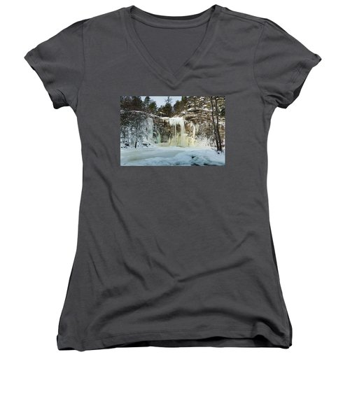 January Morning At Awosting Falls Women's V-Neck (Athletic Fit)