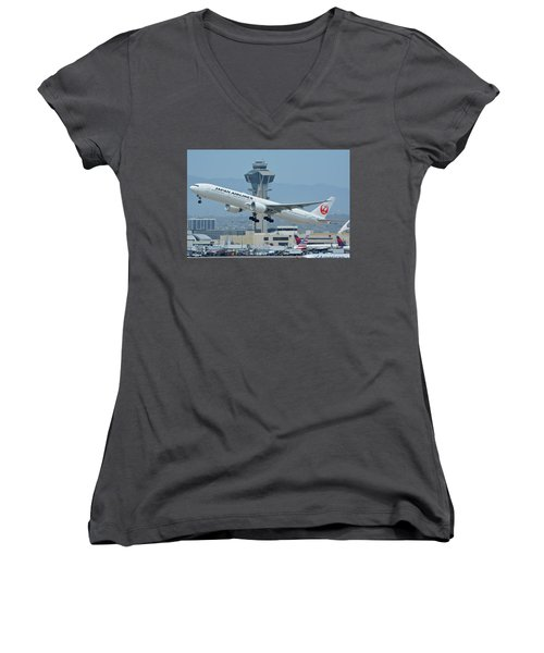 Women's V-Neck T-Shirt (Junior Cut) featuring the photograph Japan Airlines Boeing 777-346er Ja737j Los Angeles International Airport May 3 2016 by Brian Lockett