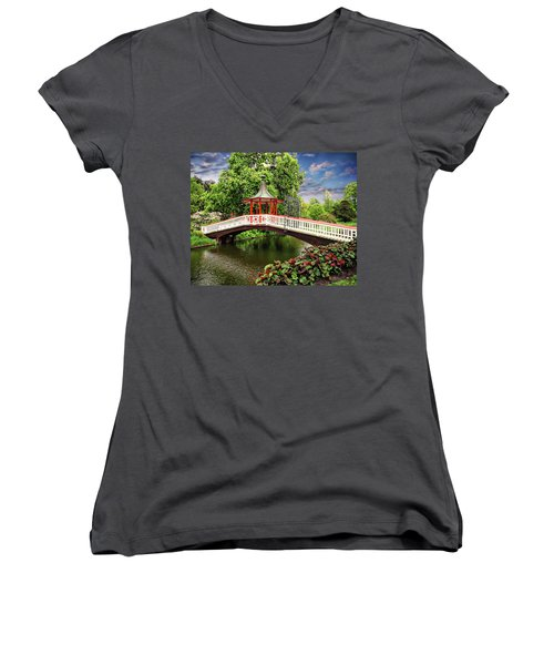 Japanese Bridge Garden Women's V-Neck