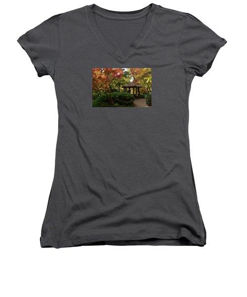 Japanese Gardens 2577 Women's V-Neck T-Shirt (Junior Cut) by Ricardo J Ruiz de Porras