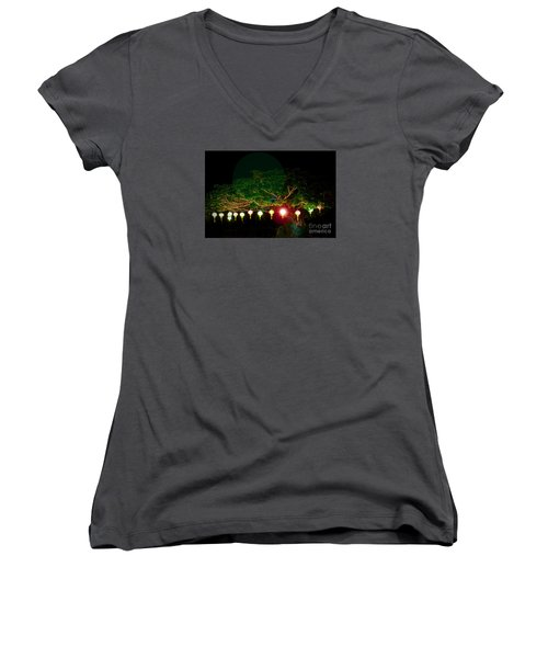 Japanese Lantern Tree Women's V-Neck (Athletic Fit)