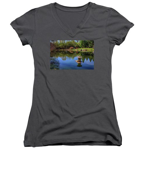 Women's V-Neck T-Shirt (Junior Cut) featuring the photograph Japanese Reflections At Maymont by Rick Berk