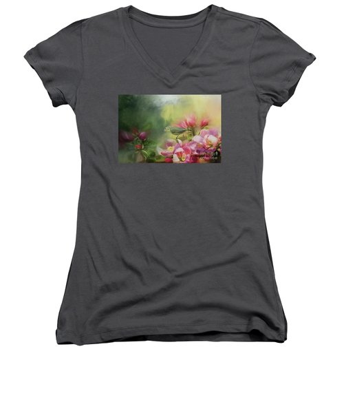 Japanese White-eye On A Blooming Tree Women's V-Neck