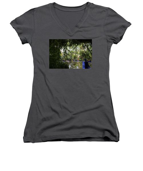 Women's V-Neck T-Shirt (Junior Cut) featuring the photograph Jardin Majorelle 2 by Andrew Fare