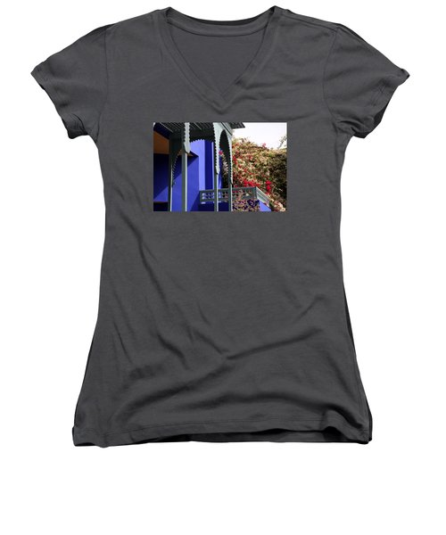 Women's V-Neck T-Shirt (Junior Cut) featuring the photograph Jardin Majorelle 3 by Andrew Fare