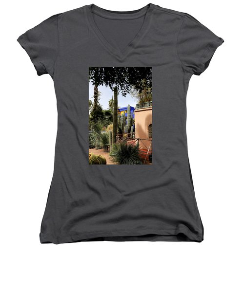 Women's V-Neck T-Shirt (Junior Cut) featuring the photograph Jardin Majorelle 4 by Andrew Fare