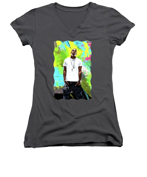 Jay Z - Celebrity Art Women's V-Neck T-Shirt