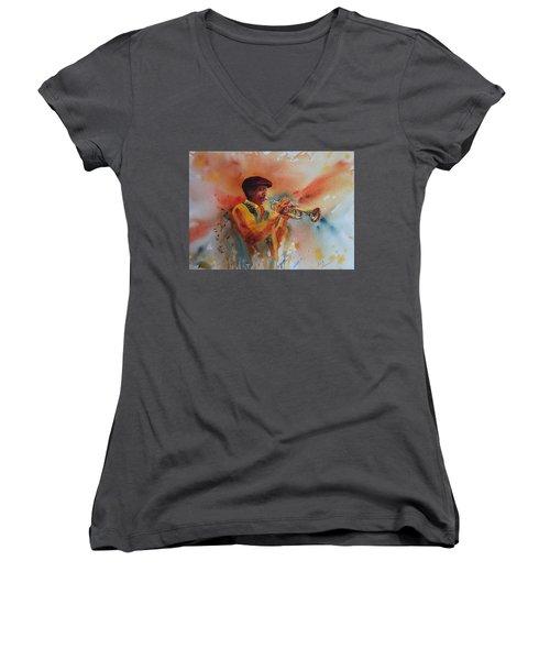 Jazz Man Women's V-Neck T-Shirt (Junior Cut) by Ruth Kamenev