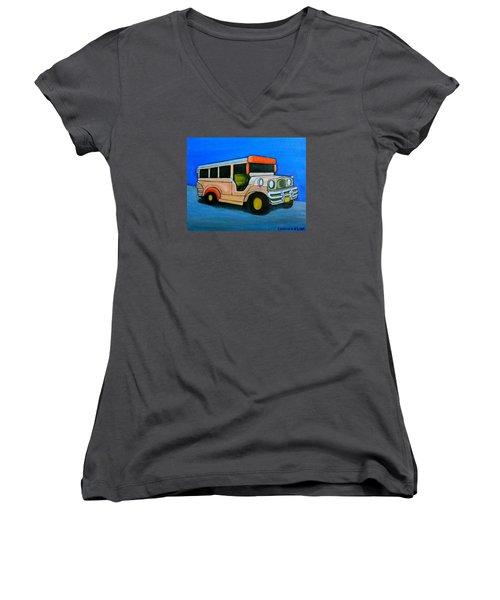 Jeepney Women's V-Neck T-Shirt (Junior Cut) by Cyril Maza