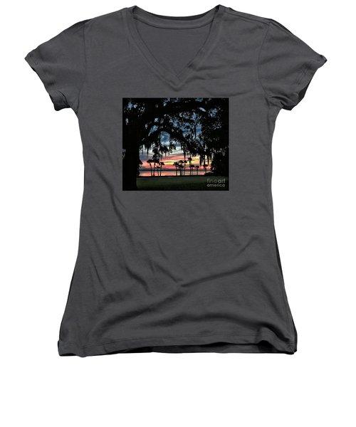 Jekyll Island Georgia Sunset Women's V-Neck T-Shirt (Junior Cut) by Walt Foegelle