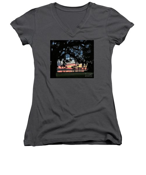 Jekyll Island Georgia Sunset Women's V-Neck (Athletic Fit)
