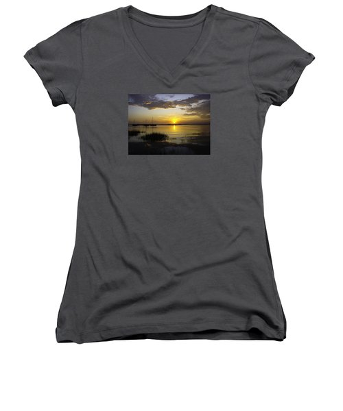 Jekyll Island Sunset Women's V-Neck T-Shirt (Junior Cut) by Elizabeth Eldridge