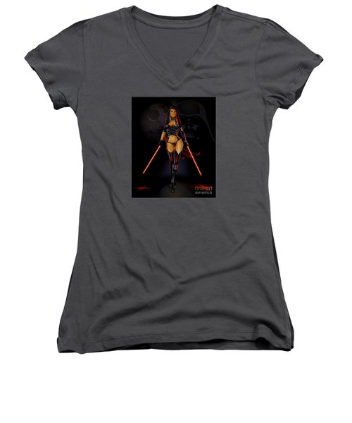 Women's V-Neck T-Shirt (Junior Cut) featuring the drawing Jemma by Brian Gibbs